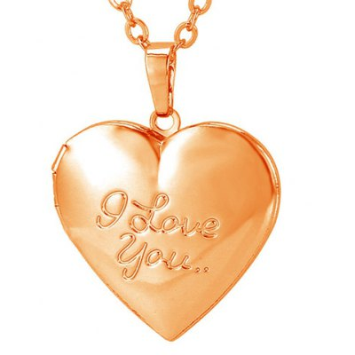 Graceful Engraved I Love You Pattern Heart Pendant Necklace For Women