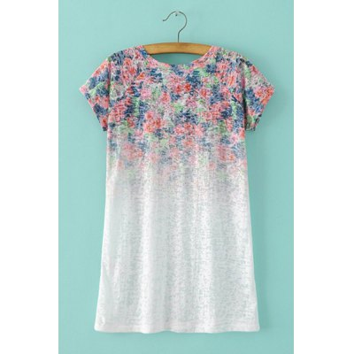 Trendy Round Neck Short Sleeve Ombre Floral Print T-Shirt For WomenWomens T-Shirts<br>Trendy Round Neck Short Sleeve Ombre Floral Print T-Shirt For Women<br><br>Material: Cotton Blends<br>Clothing Length: Regular<br>Sleeve Length: Short<br>Collar: Round Neck<br>Style: Fashion<br>Season: Summer<br>Pattern Type: Floral<br>Weight: 0.370KG<br>Package Contents: 1 x T-Shirt