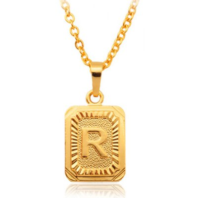 Printed Letter R Geometric Pendant Necklace