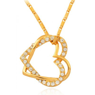 Graceful Rhinestoned Double-Layered Heart Pendant Necklace For Women