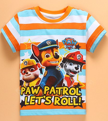 Casual Short Sleeve Round Neck Striped Paw Patrol Boy's T-Shirt 130 STRIPE