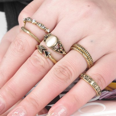 A Suit of Vintage Faux Opal Rings For Women