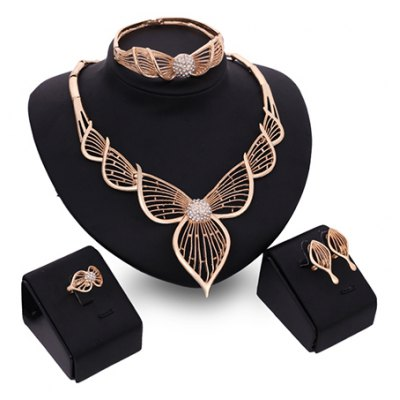 A Suit of Charming Hollow Out Leaf Necklace Bracelet Ring and Earrings For Women