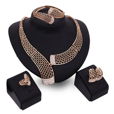 A Suit of Charming Hollow Out Chunky Necklace Bracelet Ring and Earrings For Women