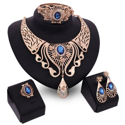 A Suit of Charming Faux Sapphire Water Drop Necklace Bracelet Ring and Earrings For Women