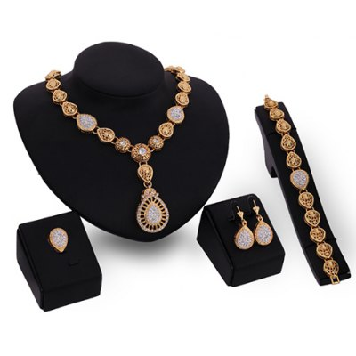 A Suit of Noble Rhinestone Water Drop Necklace Bracelet Ring and Earrings For Women