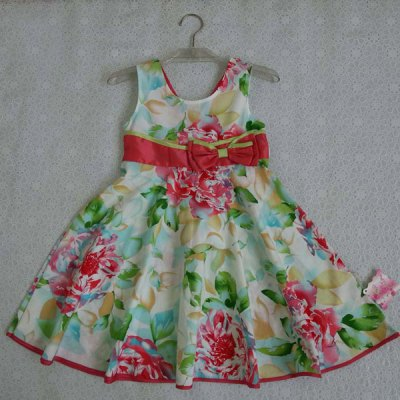 Sweet Sleeveless Floral Print Bowknot Design Flare Dress