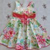 cheap Sweet Sleeveless Bowknot Design Floral Print Girl's Flare Dress
