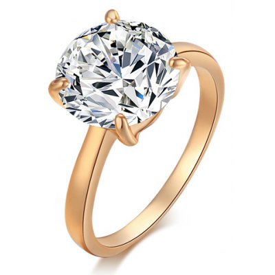 Simple Style Rhinestone Alloy Ring For Women