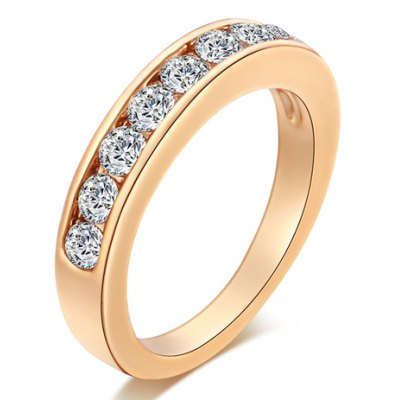 Simple Style Rhinestoned Round Ring For Women