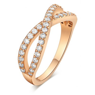 Stunning Rhinestoned Crossover Shape Ring For Women