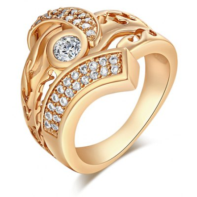 Stunning Rhinestoned Hollow Out Ring For Men