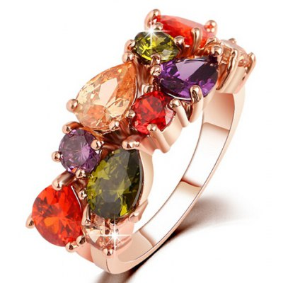 Graceful Faux Crystal Water Drop Ring For Women