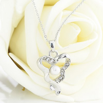 Exquisite Faux Pearl Rhinestone Hollow Out Triangle Necklace For Women