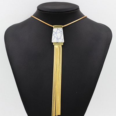 Trendy Turquoise Link Chain Tassel Necklace For Women