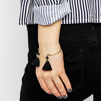 Chic Black Cord Tassel Cuff Bracelet For Women