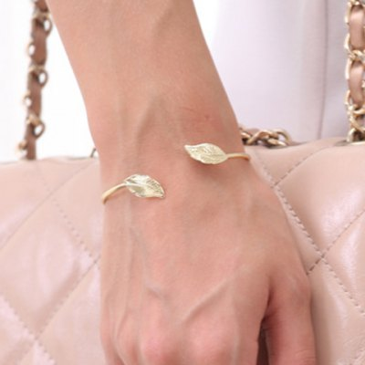 Chic Simple Style Leaf Shape Cuff Bracelet For Women