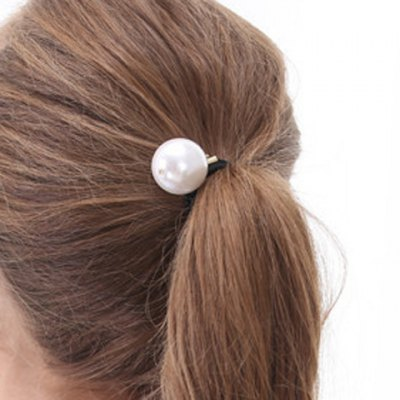 Faddish Faux Pearl Elastic Hair Band For Women