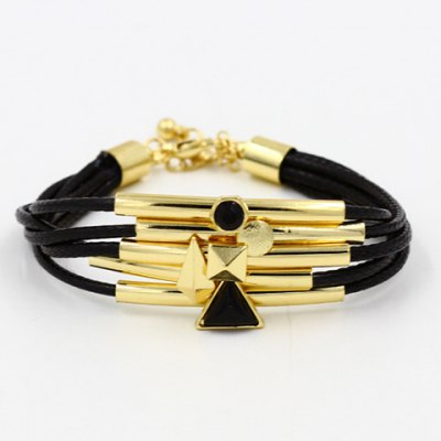 Chic Faux Leather Multi-layered Geometric Bracelet For Women