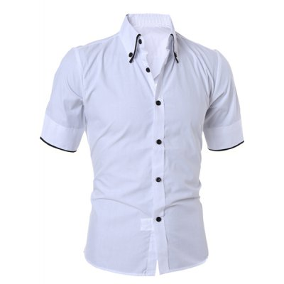 White Simple Style Turn-Down Collar Solid Color Short Sleeve Men's ...