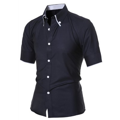 Simple Style Turn-Down Collar Solid Color Short Sleeve Mens Button-Down ShirtMens Shirts<br>Simple Style Turn-Down Collar Solid Color Short Sleeve Mens Button-Down Shirt<br><br>Shirts Type: Casual Shirts<br>Material: Cotton Blends<br>Sleeve Length: Short<br>Collar: Turn-down Collar<br>Weight: 0.190KG<br>Package Contents: 1 x Shirt