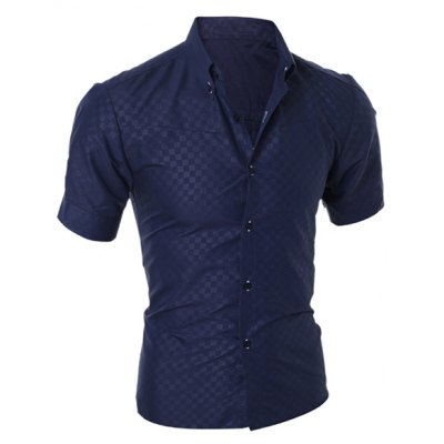 Фотография Simple Style Turn-Down Collar Solid Color Short Sleeve Men