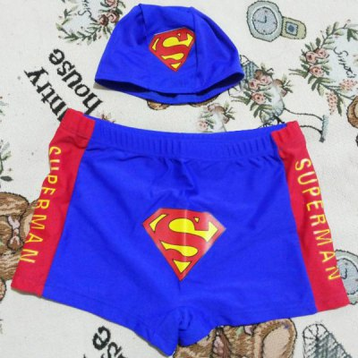 Stylish Elastic Waist Superman Pattern Board Shorts + Hat For Boys