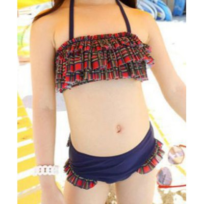 Cute Halter Ruffled Layered Bra + Briefs Girl's Two-Piece Swimsuit