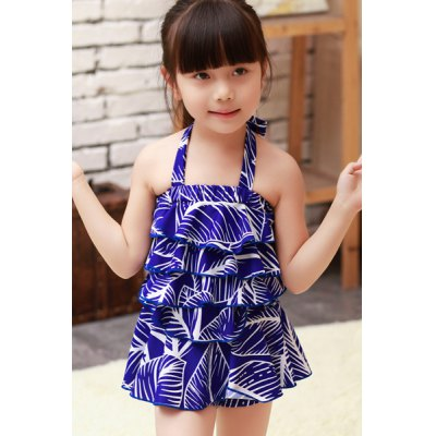 Sweet Halter Flounced Printed Girls One-Piece SwimwearGirls Clothing<br>Sweet Halter Flounced Printed Girls One-Piece Swimwear<br><br>Gender: For Girl<br>Pattern Type: Print<br>Swimwear Type: One Piece<br>Waist: Natural<br>Weight: 0.220KG<br>Package Contents: 1 x Swimwear