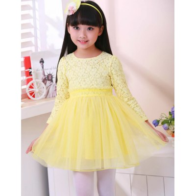 Cute Long Sleeve Pure Color Ball Gown Dress For Girl