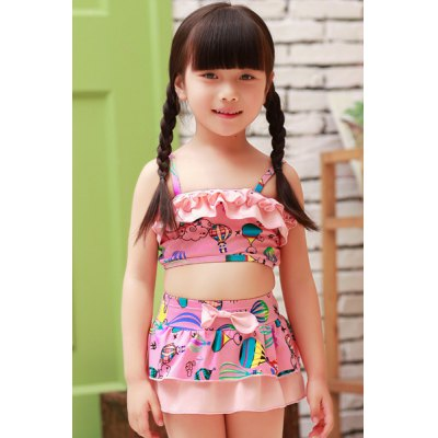 Sweet Spaghetti Strap Printed Flounced Two Piece Swimsuit
