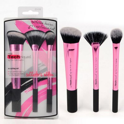 3 Pcs Aluminum Tube Fiber Facial Makeup Brushes Set