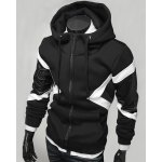 Buy Hit Color PU Leather Spliced Triangle Pattern Front Pocket Drawstring Hooded Long Sleeves Men's Hoodie 2XL