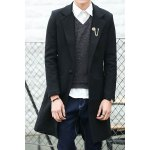 Buy Turn-Down Collar Slimming Back Slit Long Sleeve Men's Woolen Blend Coat 3XL