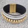 cheap Chic Faux Leather Rhinestone Chunky Bracelet For Women