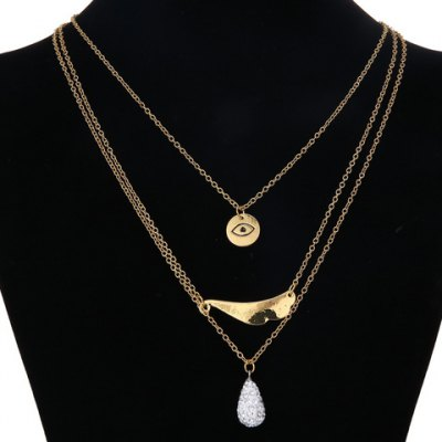 Graceful Multilayered Rhinestoned Evil Eye Necklace For Women