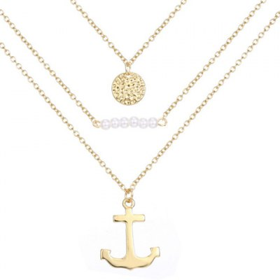 Graceful Multilayered Faux Pearl Anchor Necklace For Women