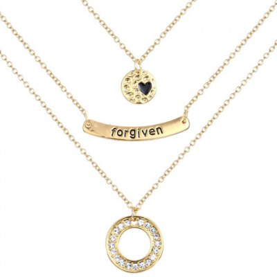Graceful Rhinestoned Multilayered Heart Engraved Forgiven Necklace For Women