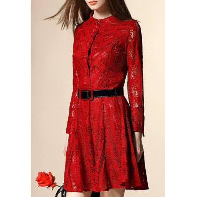 Chic Stand Collar Long Sleeve Cut Out Womens Lace DressWomens Dresses<br>Chic Stand Collar Long Sleeve Cut Out Womens Lace Dress<br><br>Style: Brief<br>Material: Lace,Polyester<br>Silhouette: A-Line<br>Dresses Length: Knee-Length<br>Neckline: Stand<br>Sleeve Length: Long Sleeves<br>Pattern Type: Solid<br>With Belt: No<br>Season: Spring,Fall<br>Weight: 0.470KG<br>Package Contents: 1 x Dress