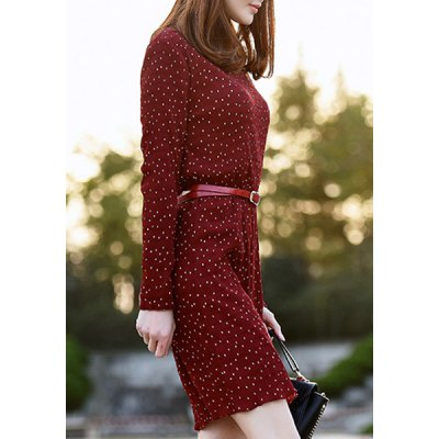 Stylish Round Neck Long Sleeve Polka Dot Belted Dress For WomenWomens Dresses<br>Stylish Round Neck Long Sleeve Polka Dot Belted Dress For Women<br><br>Style: Brief<br>Material: Polyester<br>Silhouette: Straight<br>Dresses Length: Mini<br>Neckline: Round Collar<br>Sleeve Length: Long Sleeves<br>Pattern Type: Polka Dot<br>With Belt: Yes<br>Season: Spring,Fall<br>Weight: 0.260KG<br>Package Contents: 1 x Dress  1 x Belt