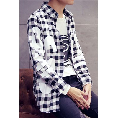 Turn-Down Collar Letters and Number Print Lengthen Long Sleeve Plaid Shirt For Men