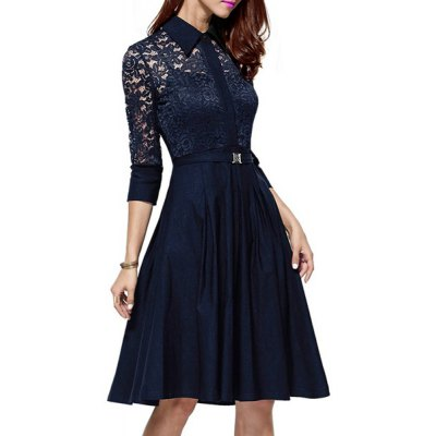 Elegant Shirt Collar 3/4 Sleeve Lace Design Cut Out Midi Dress For WomenWomens Dresses<br>Elegant Shirt Collar 3/4 Sleeve Lace Design Cut Out Midi Dress For Women<br><br>Style: Vintage<br>Material: Lace,Polyester<br>Silhouette: A-Line<br>Dresses Length: Knee-Length<br>Neckline: Shirt Collar<br>Sleeve Length: 3/4 Length Sleeves<br>Pattern Type: Solid<br>With Belt: No<br>Season: Spring,Fall<br>Weight: 0.460KG<br>Package Contents: 1 x Dress