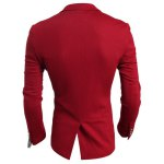 Elegant Turn-Down Collar Color Block Purfled Pocket Slimming Long Sleeve Men's Blazer deal