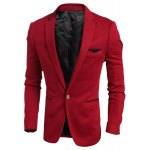 cheap Elegant Turn-Down Collar Color Block Purfled Pocket Slimming Long Sleeve Men's Blazer