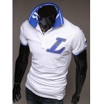Casual Turn-Down Collar Letter Applique Embellished Short Sleeve Men's Polo-Shirt deal