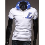 Casual Turn-Down Collar Letter Applique Embellished Short Sleeve Men's Polo-Shirt