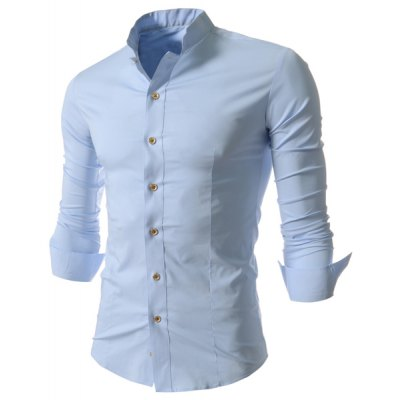Stand Collar Solid Color Long Sleeve Slim Fit Mens ShirtMens Shirts<br>Stand Collar Solid Color Long Sleeve Slim Fit Mens Shirt<br><br>Shirts Type: Casual Shirts<br>Material: Cotton Blends<br>Sleeve Length: Full<br>Collar: Stand Collar<br>Weight: 0.204KG<br>Package Contents: 1 x Shirt