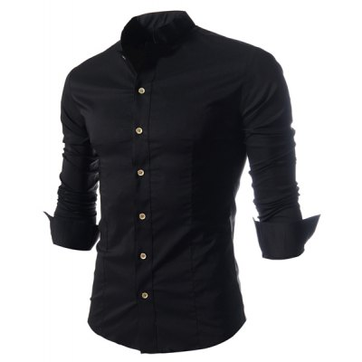 Stand Collar Solid Color Long Sleeve Black Shirt For Men