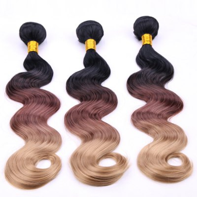 Trendy Body Wave Three Color Gradient 3 Pcs/Lot Long Synthetic Hair Weave For Women