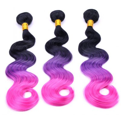 Fashion Three Color Ombre Synthetic Long Body Wavy 3 Pcs/Lot Hair Weave For Women